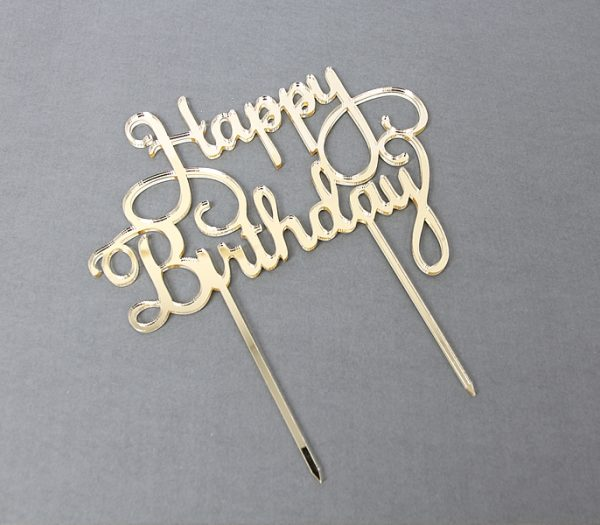 Happy birthday cake topper gold